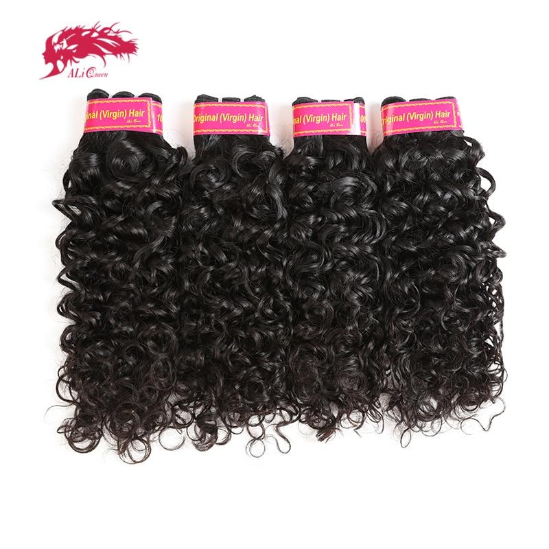 Ali Queen Hair 4Pcs Lot 10A Brazilian Virgin Hair Bundles Water Wave Human Hair Bundles 14
