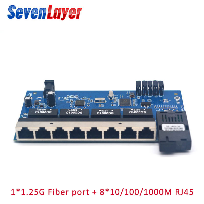 Gigabit Ethernet Switch 1G8E Ethernet Fiber Optical Media Converter Single Mode 8 RJ45 1 SC Fiber Port PCBA Board 2 Pieces