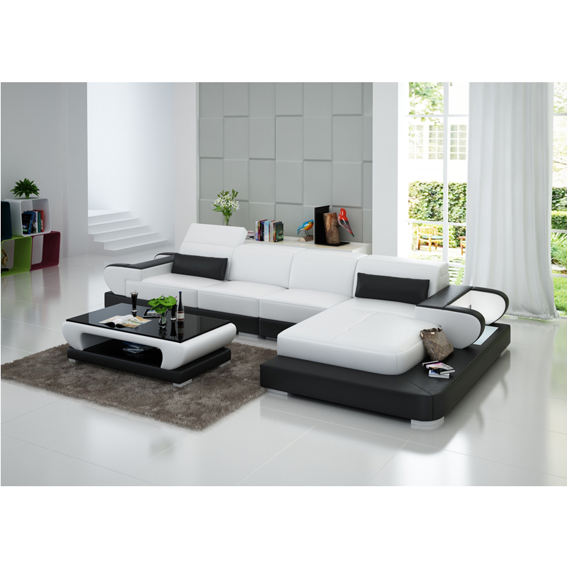 European Style White Cheap Genuine Leather Sofa-in Living