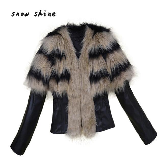 Snowshine #3001 Женщин Меховой Воротник Пальто Кожаная Куртка Пальто Куртка Зимний Пиджаки Теплый бесплатная доставка