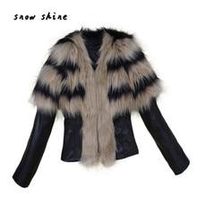 snowshine  #3001   Women Fur Collar Coat Leather Jacket Overcoat Parka Winter Outwear Warm  free shipping
