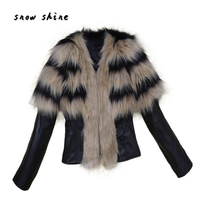 snowsong#3503 Women Fur Collar Coat Leather Jacket Overcoat Parka Winter Outwear Warm free shipping