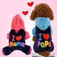 Pet Dog Coats Fashion I Love Papa And Mama Winter Clothing For Pet Small Large Dog  Letter Printing Jackets For Chihuahua
