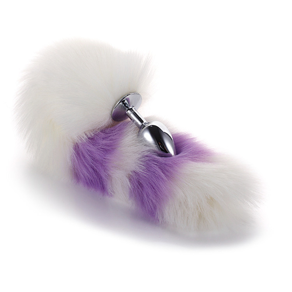 Female 39 s Anal Butt Plugs White And Purple Artificial Fur Fox Tail Silver Fun Plug Romantic Toys in Anal Sex Toys from Beauty amp Health