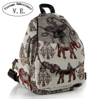 Vintage Embroidery Women Backpack Thail Elephant Backpack Canvas Shoulder Bag Travel Rucksack Schoolbag Woman Mochila