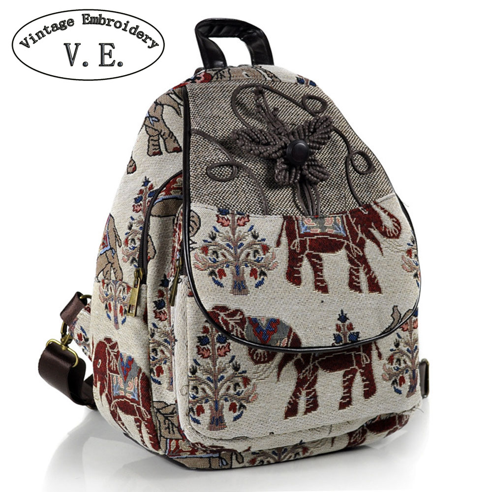 Vintage Embroidery Women Backpack Thail Elephant Backpack Canvas Shoulder Bag Travel Rucksack Schoolbag Woman Mochila scione ethnic canvas backpack printing elephant butterfly drawstring casual rucksack travel shoulder bag mochila feminina xa739a