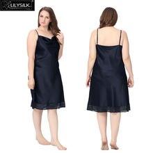 Lilysilk Elegant Nightgowns font b Women b font Nightdress 100 Silk Pure Slip Plus Size Lace