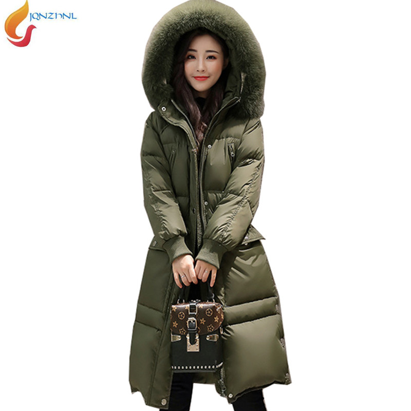 2017 Winter Fashion Loose Hooded Fur Collar Down Jacket Medium long Thick Warm Large size Jacket Women Down Cotton Jacket AD174 2017 winter classic fashion fur hoodie coat jacket women thick warm long sleeve cotton coats student medium long loose overcoat