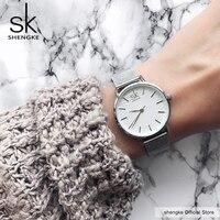 SK супер тонкие Серебристые сетчатые часы из нержавеющей стали для женщин лучший бренд Роскошные повседневные часы женские наручные часы ...