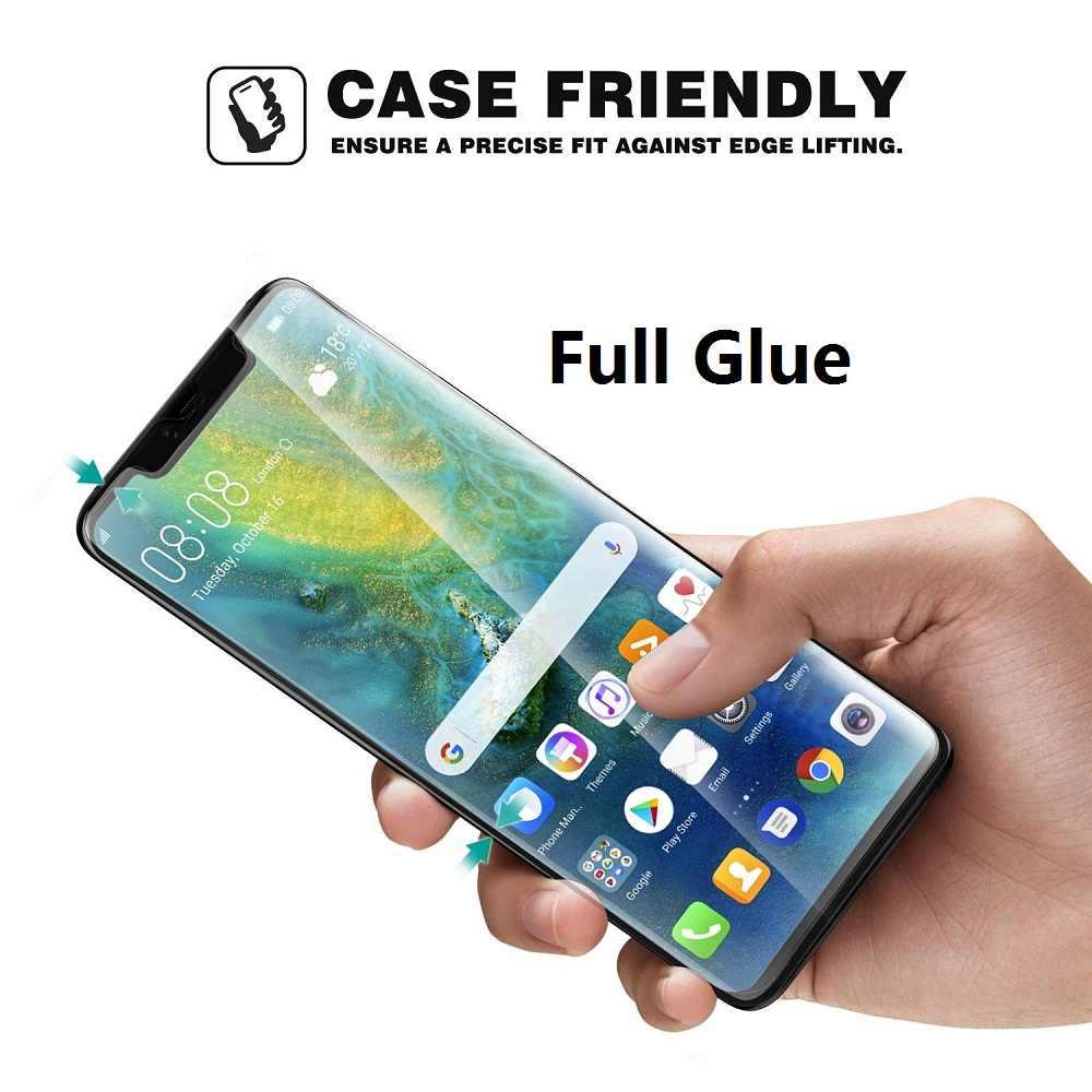 5D Melengkung Penuh Lem Kaca Tempered untuk HUAWEI Mate 20 Pro Full Cover Screen Protector untuk Huawei Mate20 Pro Penuh kaca Perekat