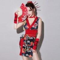 Retro Printing Dress Women Sexy Chinese Cheongsam One piece Outfit DJ DS Show Female Singer Nightclub Star Dance Costume