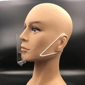 Image 4 - 50 Stks/doos Draagbare Anti Fog Transparante Plastic Masker Mond Cover Speeksel Beschermen Tattoo Makeup Hotel Keuken Supply Accessoires