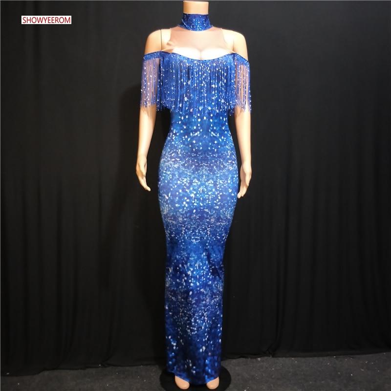 Fashion Rhinestones Fringes Dress Women Evening Birthday Celebrate Tassel Dress Stage Women Singer Dancer Long Dress