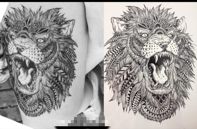 17 High Quality Hot Sale 21x15cm cool tattoo art body The roar of the Lion King Temporary Tattoo Stickers fake tattoo men 2