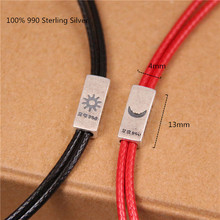 100% 990 Sterling Silver Bracelets for Women Men Couples Jewelry Red and Black Leather Cord Bracelet Fashion Jewellery