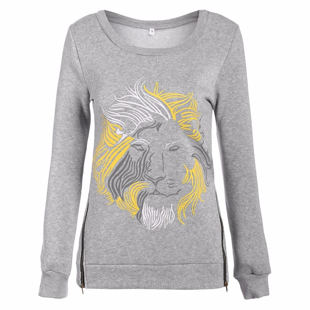 Spring Autumn Long Sleeve Lion Women Suit Hoody Hood Sweatshirt Tracksuit Sportswear Female Lady Polerone Clothing Clothes 2017