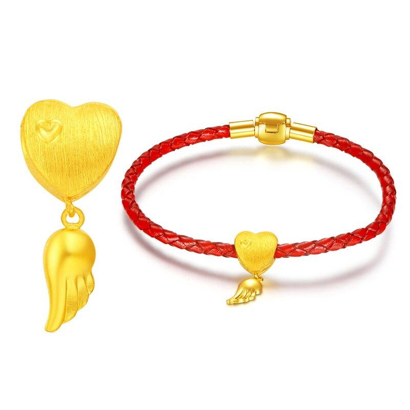 Nouveauté Bracelet coeur en or jaune 24 K Bracelet mode femme