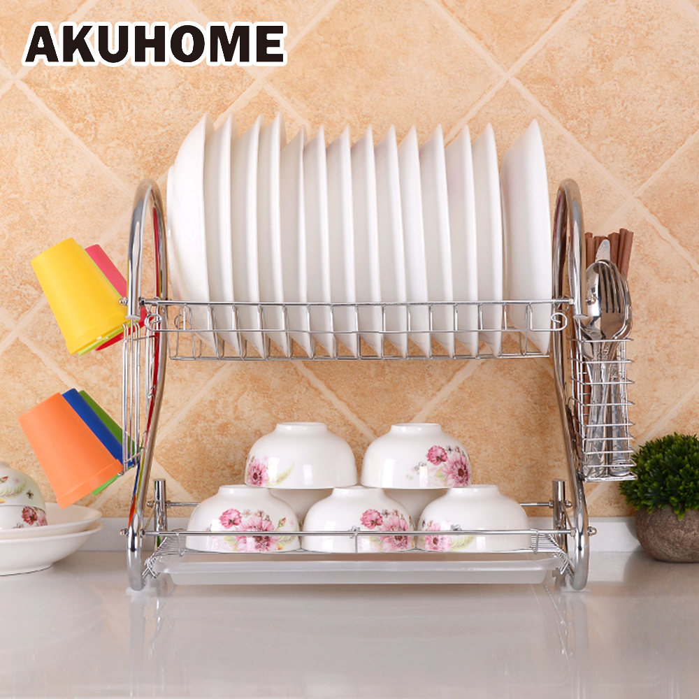 Drain Multi-function Kitchen Tool Racks Double Stainless Steel Dish Cutter Cutting Board cup Shelf AKUHOME