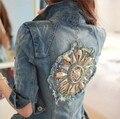 Вернуться Бисера Sun Flower Тонкий Деним Короткие Женщина лоскутное Куртка