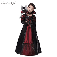 Halloween Cosplay Vampire Costumes Kids Pretty Long Sleeves Dress With Black Bow Headband For Carnival Party