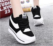 2016 Fashion Wedges High Heels thick soled High Top Ladies Casual Single Shoes Women lace-up platform canvas shoes espadrilles