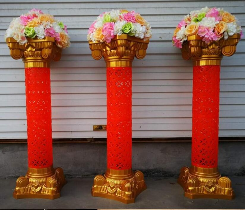 2PCSThe wedding golden Roman column Chinese style guide European flower shelf.