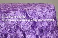 2pcs 228x396cm #117 Lavender Satin 3D Rosette Rectangle Table Cloth For Wedding Event &Party &Hotel &Resturant Decoration