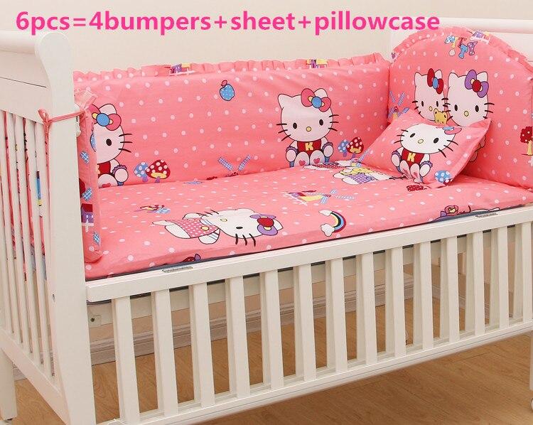 ! 6 StÜcke Cartoon Kinderbett Bettwäsche Set Baby Kindergarten Bettwäsche Krippe Stoßfänger, Sind :( Stoßfänger + Blatt + Kissenbezug)