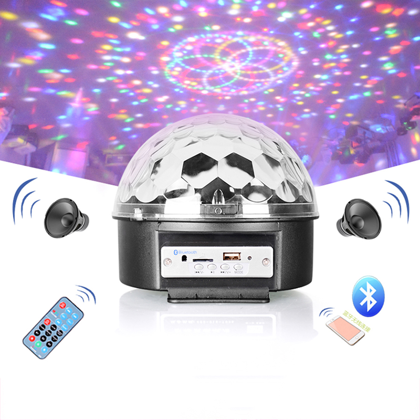 9 ColorS Bluetooth KED MP3 Crystal Magic Ball Light KTV Flash Laser Stage Lighting Bar Ball Rotating Festival Party led Lights