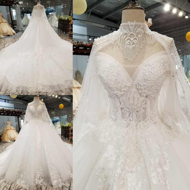 Backlakegirls 2019 New Pattern 3d appliques Lace Wedding Dress Elegant Tassel Cathedral Train Ball Gowns Bridal