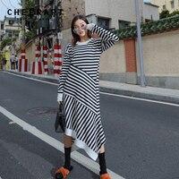 Cheerart Long Knitted Dress Women Black And White Striped Irregular Dress Autumns Knitwear Casual Designer Dress Clothes 2018