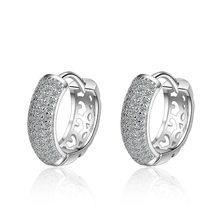 XIYANIKE nueva moda 925 de plata esterlina brillante CZ mosaico circonio encanto pendientes para las mujeres pendientes de plata y circonita para niña regalo dulce