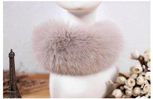SCM043 шарф из лисьего меха шарфы-повязки на шею теплая накидка шаль-пончо снуд много цветов 57*12 см - Цвет: beige