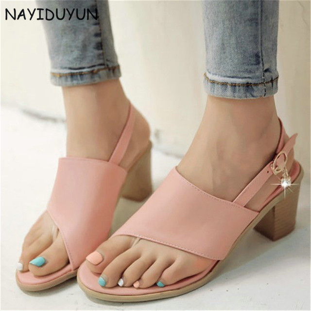 1ab5ca7b142e NAYIDUYUN Hot Womens Diamonds Buckle Roman Gladiator Thong Sandals Cuban High  Heel Party Pumps Open Toe Summer Casual Shoes