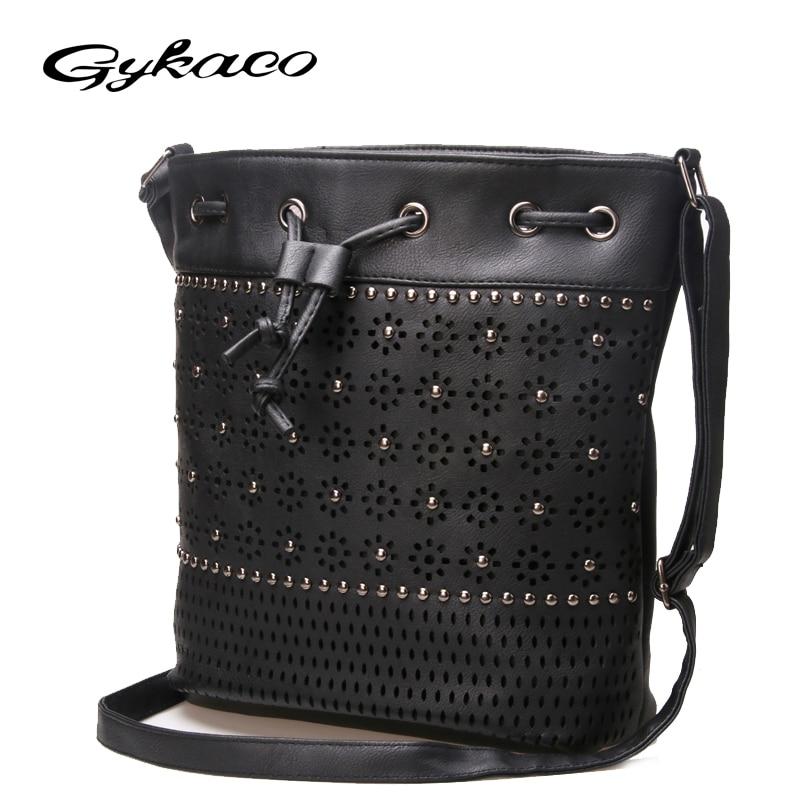 Gykaeo 2017 vrouwen emmer tas vintage klinknagel uitgehold crossbody - Handtassen - Foto 3