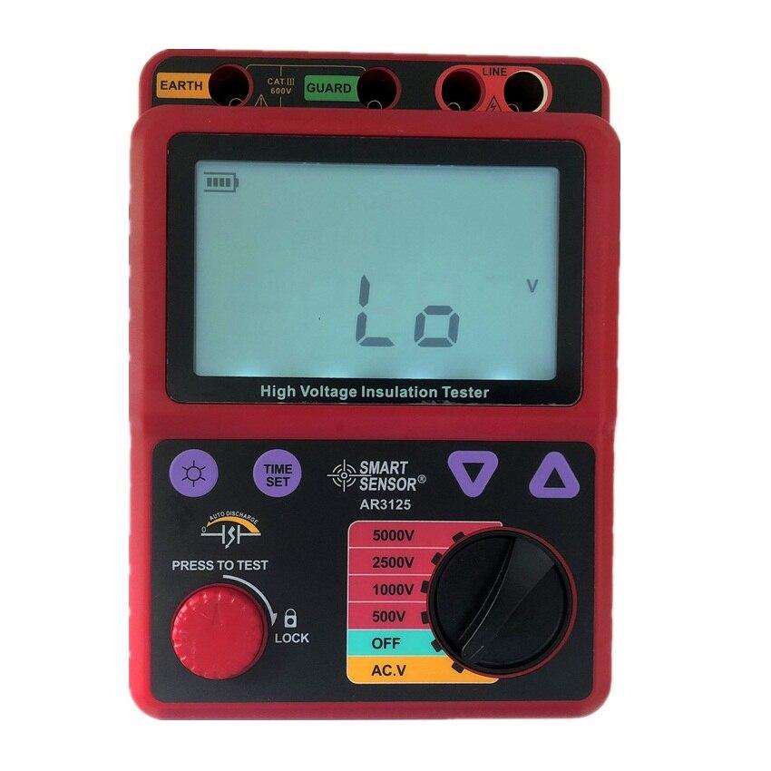 Smart Sensor AR3125 0 0M 1000G Ohm 500 5000V High Voltage Insulation Resistance Tester Megohmmeter Megger