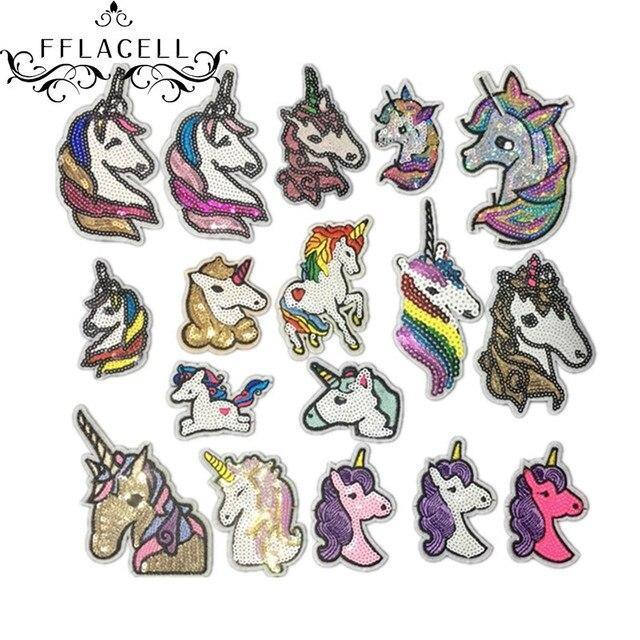 FFLAECLL unicornio lentejuelas Patch hierro en parches de dibujos ...