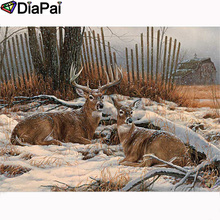DIAPAI Diamond Painting 5D DIY 100% Full Square/Round Drill Animal deer snow Embroidery Cross Stitch 3D Decor A23691
