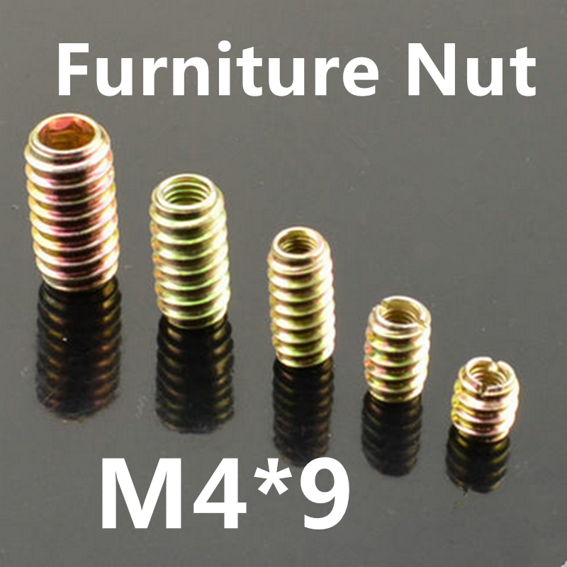 100pcs M4*9 Furniture Pass-through Drive Unhead Threaded Nut Color Zinc Plated Carbon Steel Wood Insert Nuts