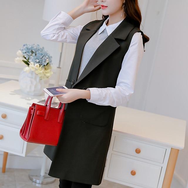 Hiawatha 2018 Spring Autumn Sleeveless Jacket And Blazer Korean Long Vest Coat Fashion Pockets Suit BL016 1