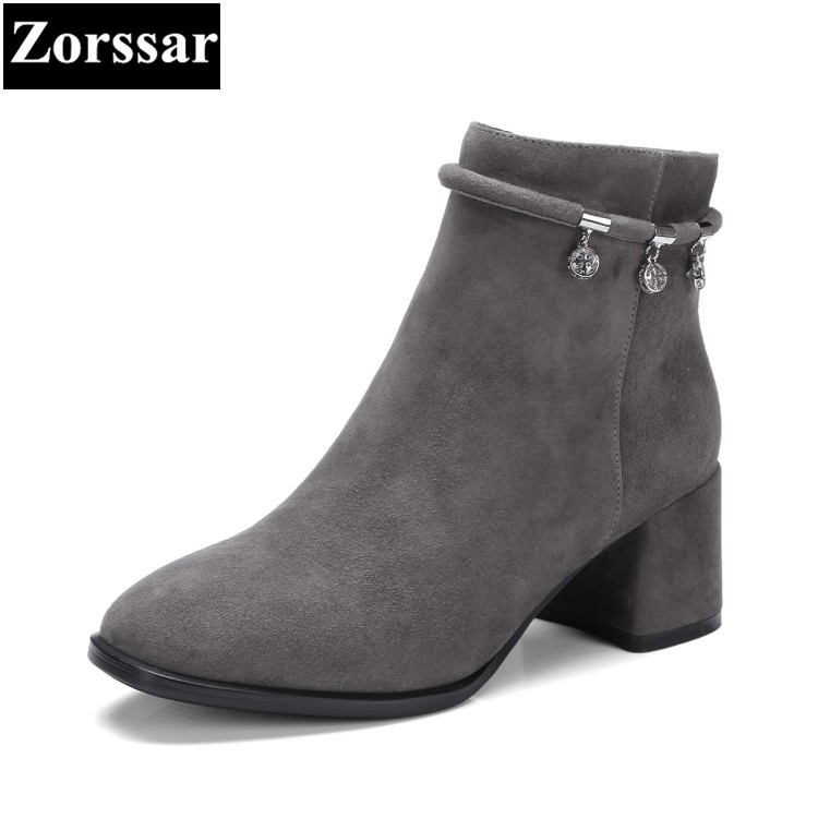 Zorssar 2017 New Winter Woman shoes Fashion crystal Kid Suede high heels short Boots comfort