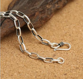 KJJEAXCMY fine jewelry S925 sterling silver men's classic retro silver 4m egg buckle necklace.