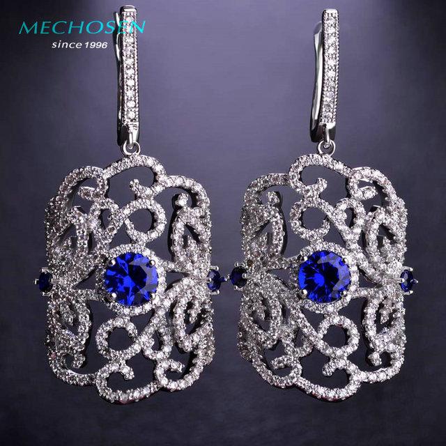 Mechosen luxo zirconia brincos para festa de casamento mulheres jóias preto gun banhado a cobre boucle d'oreille pendantes femme