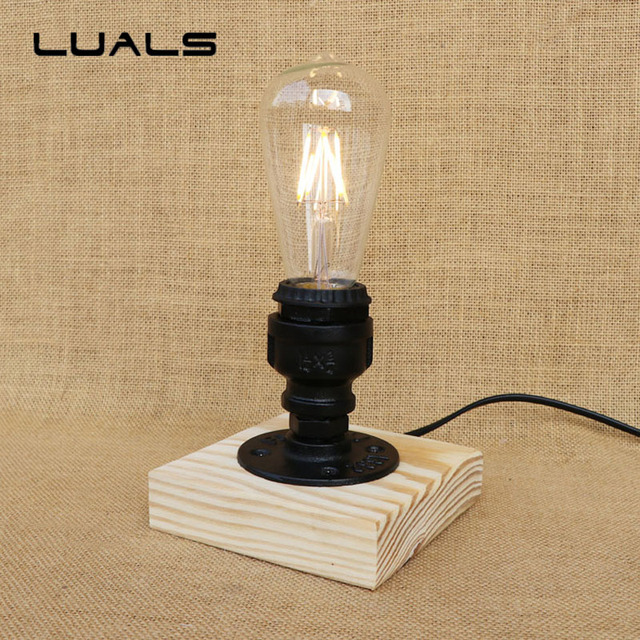 Loft Retro Table Lamp Creative LED Table Light Simple Water Pipes  Industrial Desk Light Cafe Bar