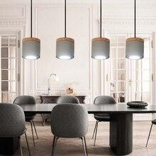 Modern LED Pendant Lamps Nordic Loft Cement Wood Pendant Lights Living Room Restaurant Kitchen Fixtures Lighting Decor Luminaria все цены