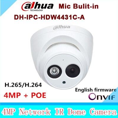 Dahua Новый прибытие IPC-HDW4431C-A 4MP Full HD Сеть ИК Мини-Камера Mic Встроенный POE видеонаблюдения сетевая купольная DH-IPC-HDW4431C-A