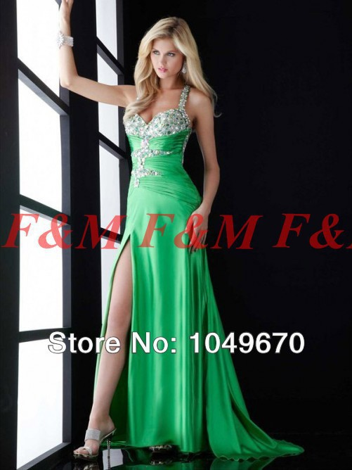 Free Shipping 2016 New Style Sexy Green Sweetheart Beaded Backless Side Silt Long Formal font b