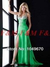 Freies Verschiffen! 2016 neue Stil Sexy Grüne Schatz Perlen Backless Side Silt Lange Formale/Abend/Ballkleider F & M696