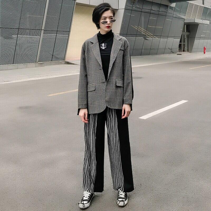 Nouveau Et Femmes Long Printemps En Blazer Rétro 2019 Pu Mode Streetwear Houndstooth plaid Blazers Patchwork Femme Pied Poule Vestes Plaid De Cuir vxqC8wg6