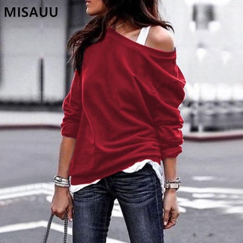 MISAUU Female Jumper Sweatshirt Sexy Off Shoulder Hoodies Top Autumn Winter Crew Neck Pullovers Tracksuit Ladies Tops Plus Size